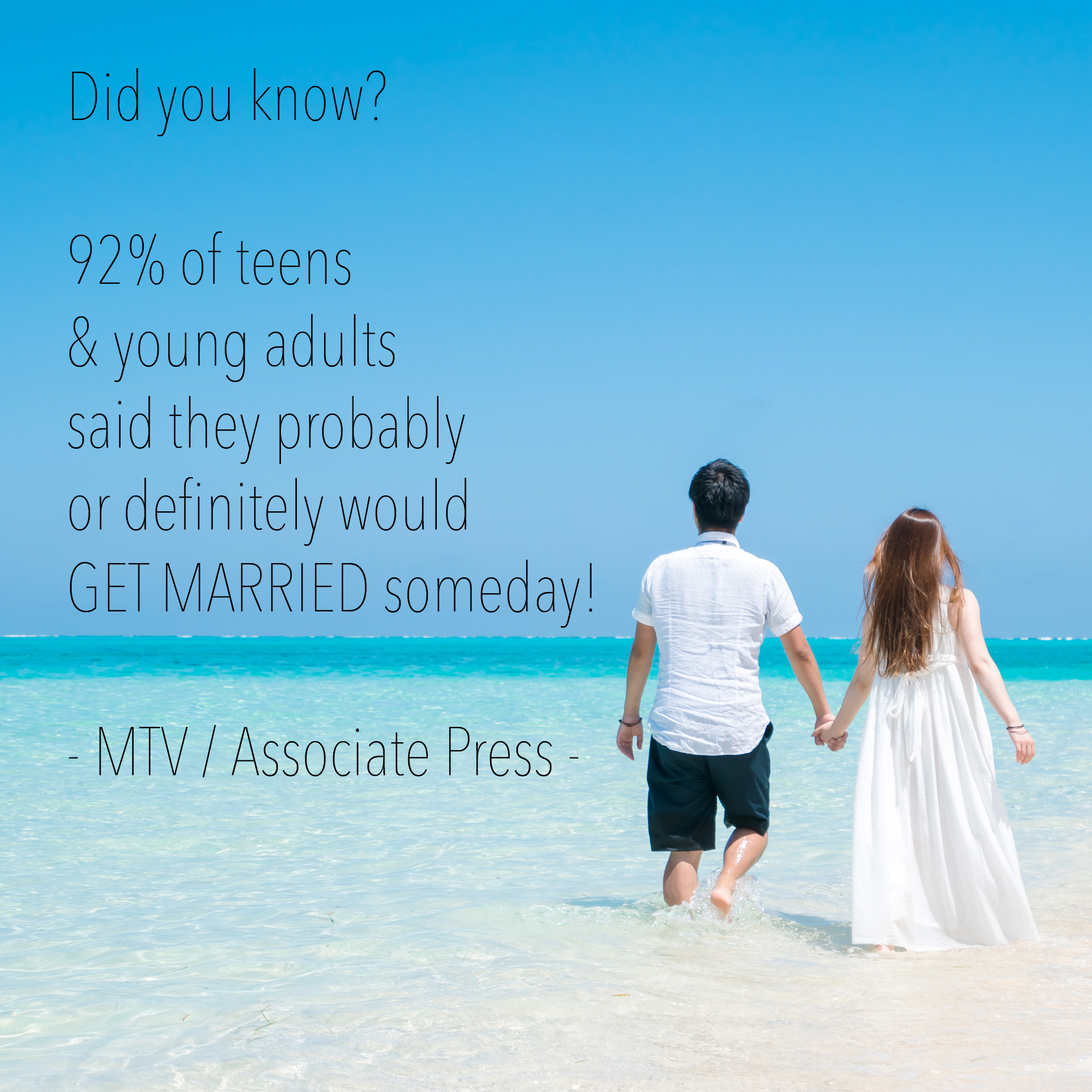 Did you know? 92% of teens & young adults said they probably or definitely would GET MARRIED someday! - MTV / Associate Press