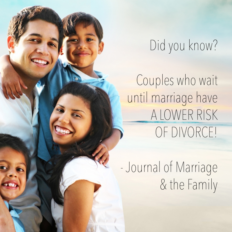 Did you know? Couples who wait until marriage have A LOWER RISK OF DIVORCE! - Journal of Marriage & the Family
