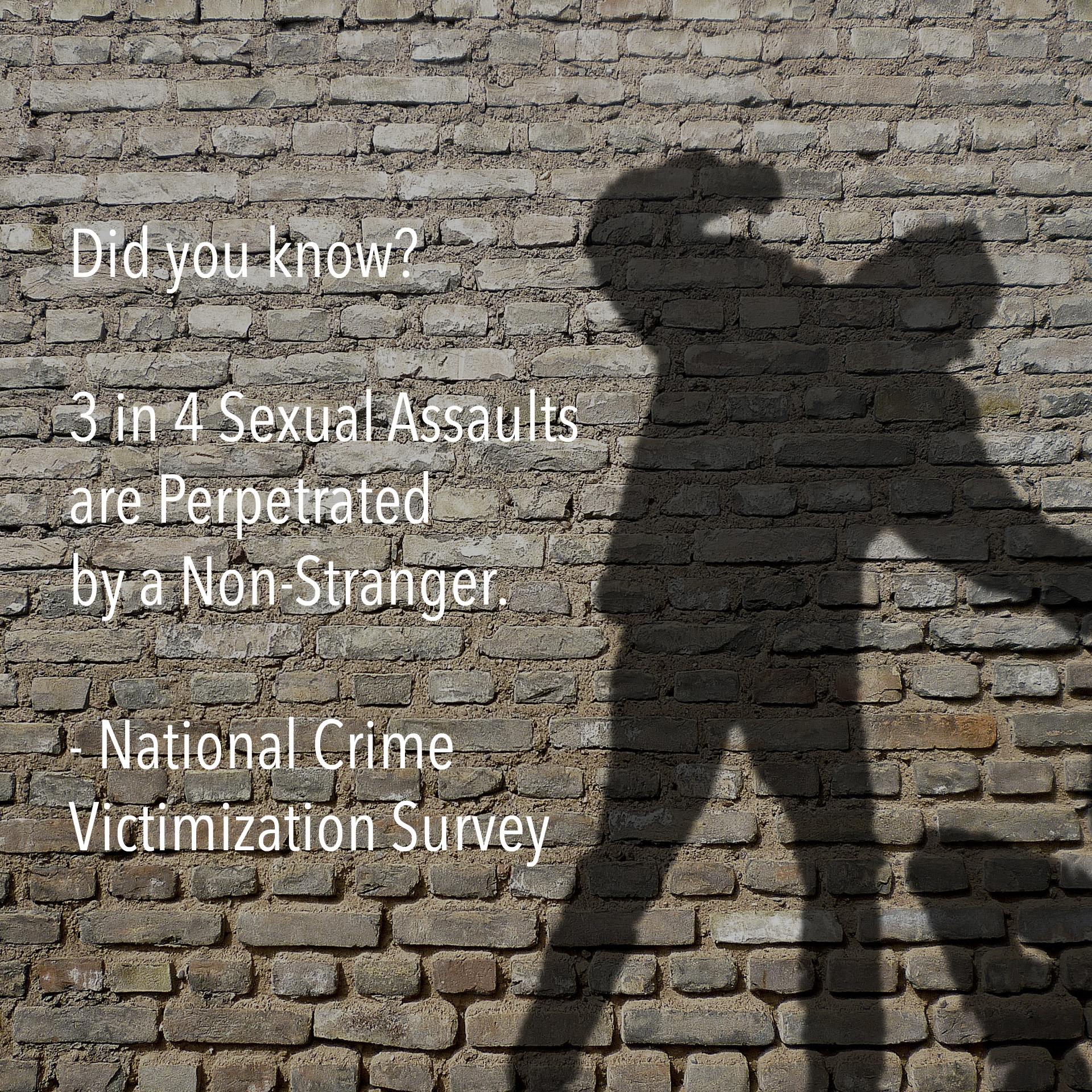 Did you know? 3 in 4 Sexual Assaults are Perpetrated by a Non-Stranger. - National Crime Victimization Survey