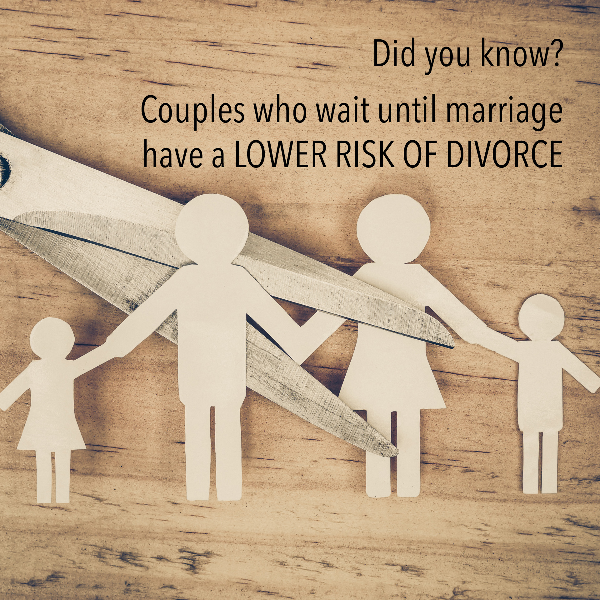 "Did you know? Couples who wait until marriage have a LOWER RISK OF DIVORCE - Love Smarts - Be ""Love Smart"" in a love-challenged world!"
